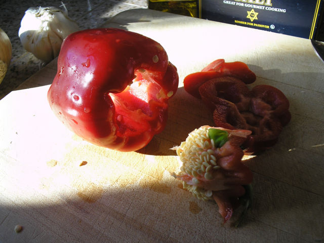 red pepper being cut up