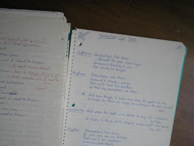handwritten song lyrics