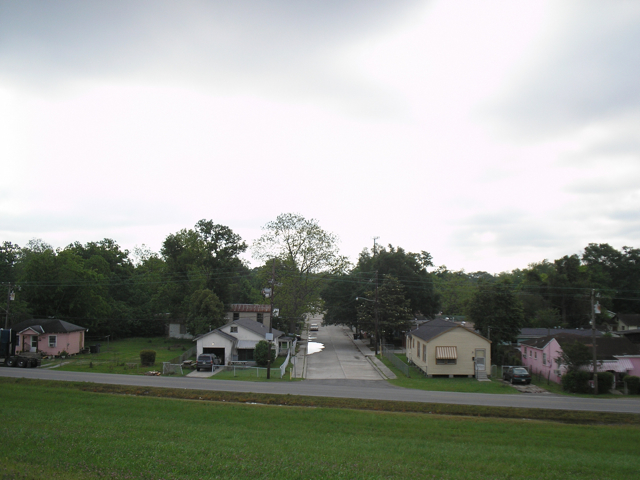 houses viewed from levee