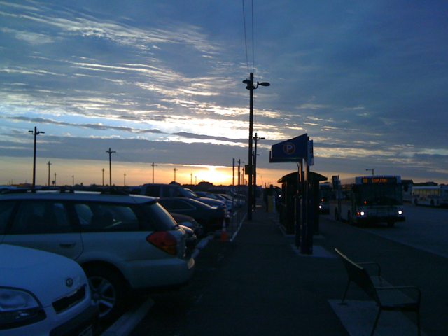 sunrise over parking lot