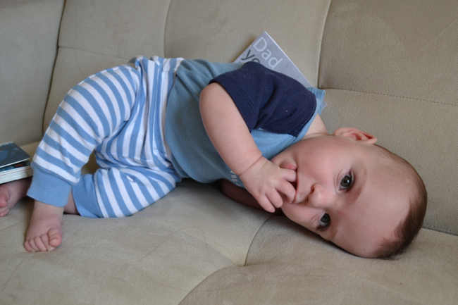 baby sideways on couch
