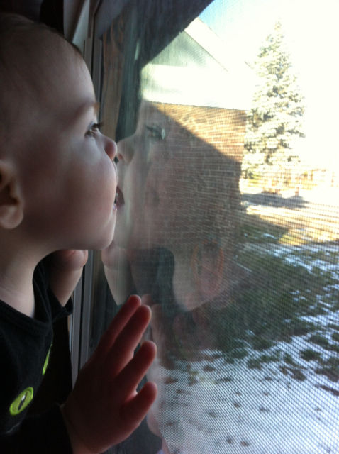 baby kissing window